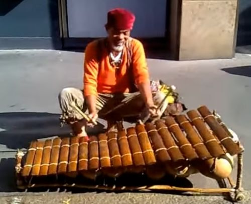 xylophonist playing on the streets